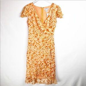 Coldwater Creek NWT orange floral silk wrap dress